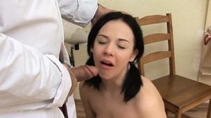 Pigtailed Teen Deep throats and Pounds
