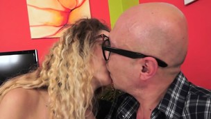 Teenager with glasses fucked by lucky grandpa