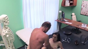 Experienced doctor bangs natural chesty patient