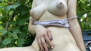 Didi&rsquo, s Fur covered Pussy and Flawless Tits &ndash,  Public Orgasm
