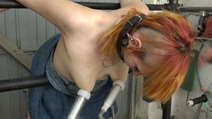 Pierced girl milked and fucked in the garage