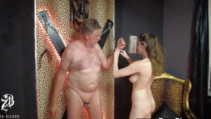 Sexy Female dom torment old slave and such him out with cbt
