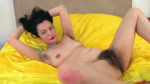 Fur covered mature Tracey Anne pounds a plaything