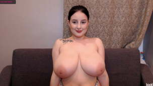 Russian girl shakes her gorgeous fat breasts