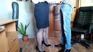 Gorgeous secretary gets cum on her ballsack