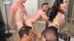 Lily Lane Gets Two Dicks to Fuck Her and Each Other!