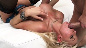 Busty ash-blonde babe gets pumped then eats up his dick and cum