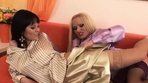 2 elegant sluts have kinky lesbian sex