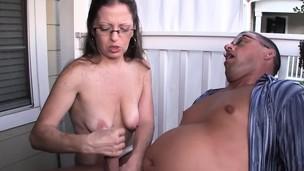 Mature amateur spex lady rubs cock outdoors