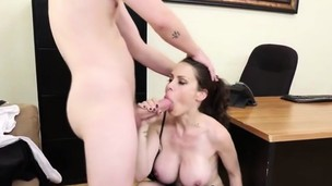 Boss sucks and rides Andy's phat cock