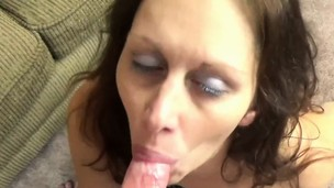 Horny housewife Trisha Delight is swallowing a stiff dick